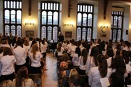 The Year 7 and 8 girls made a wonderful noise as they sang the songs of peace and protest