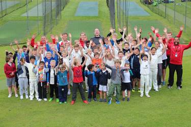 Iain O'Brien dispensed wisdom and practical tips during the Flintoff Cricket Academy at Bolton School