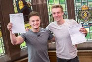 Boys celebrate the best crop of A level results in the past 5 years