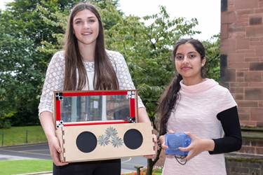 Georgina and Khadijah with their projects