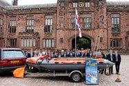 Some of the Year 9 boys with the D Class Lifeboat