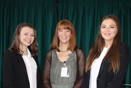 Keynote speaker Clare Inkster with two Year 12 girls