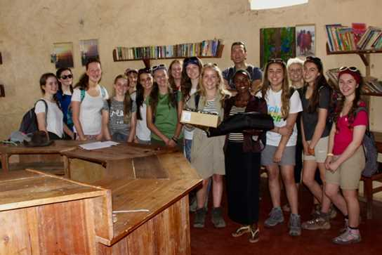 The girls were delighted to hand over a new laptop and PC projector
