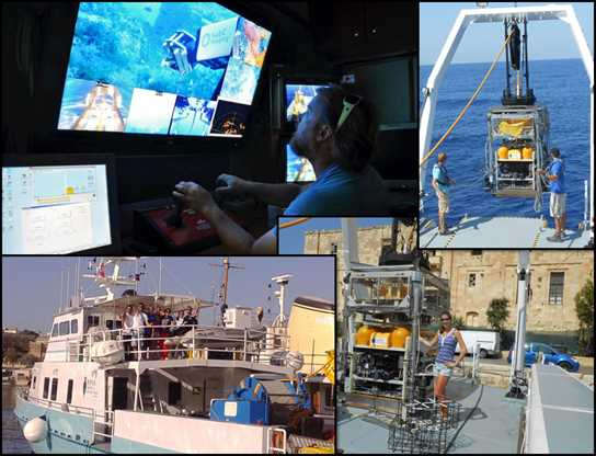 A collage of images from Sian's experience on the seafloor research boat