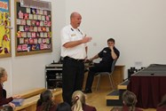 Watch Manager Tony McKenna talking to pupils about safety during the Autumn months