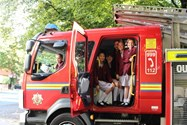 Some girls were able to see inside the fire engine!