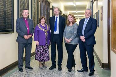 The Bishop of Bolton, the Mayor of Bolton, Karen Edwards OBE and Phil Gartside joined Headmaster Philip Britton for the panel discussion