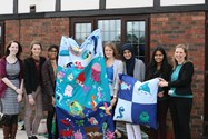 Sixth Form girls made a colourful wall hanging for Pocket Nook, a local residential care home for young adults