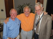 John Maier, Sir Harry Kroto and Don Huffman at the symposium where the discovery was announced (photo by Jon Hare)