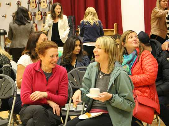 Parents enjoyed chatting together before assembly