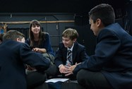 Imogen working with some pupils on their ideas