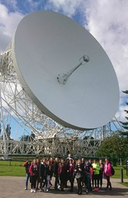 Some of the Year 8 girls with a telescope at Jodrell Bank