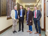 Sir Ian McKellen, Headmaster Philip Britton, Old Boy James Edgington and Dr Mullins