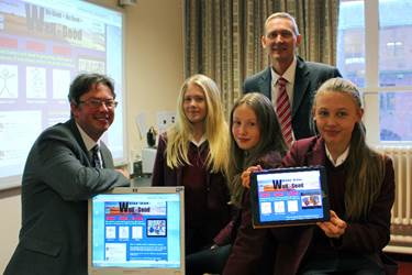 Mr Hitchin and Mr Heppleston with Eve, Freya and Rubie, who have been using the Well-Good website