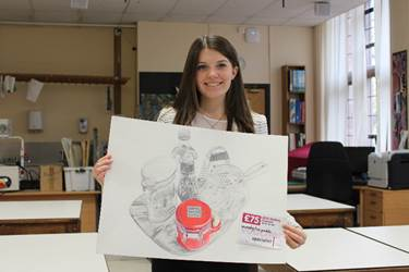 Laura with her voucher and shortlisted artwork 'Untitled', in pencil and coloured pencil