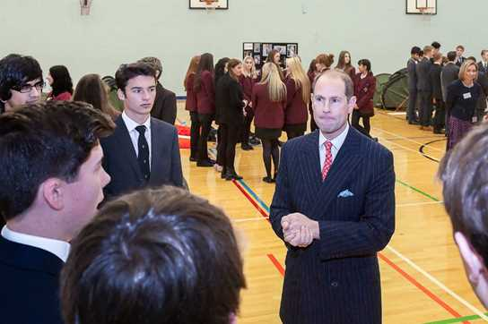 The Earl of Wessex chatted to the School's Duke of Edinburgh participants about their plans
