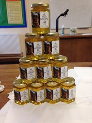 The honey is sold in attractive hexagonal jars and makes an ideal Christmas present