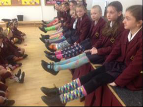 Some of the Junior Girls' colourful socks