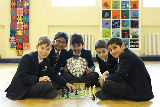 Callum, Rishi, Hashir, Laurence and Aran with the AJIS trophy