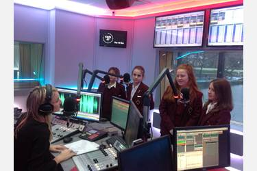 The Year 7 girls chatting to Debbie at Key103