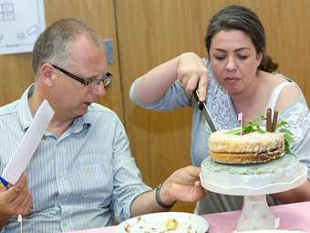 Mr Hough and Mrs McDermott help to judge the Junior Bake Off