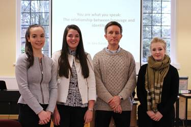 Dr Baratta with some of the Sixth Form English Language pupils who attended the talk