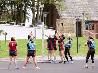 The netball match was hard fought on both sides