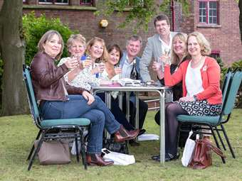 Alumni enjoy catching up outside the Arts Centre and in the Headmaster's Garden