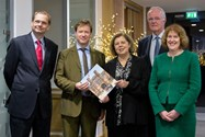Philip Britton, Neil Titman, Deborah Coleman, Michael Griffiths and Sue Hincks with a copy of