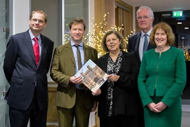Philip Britton, Neil Titman, Deborah Coleman, Michael Griffiths and Sue Hincks with a copy of 'The Best of Both Worlds'