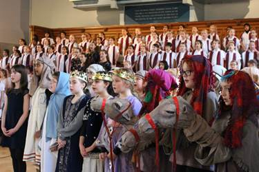 The whole of the Junior Girls' School came together to perform