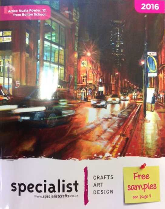 The artwork on the cover of the 2016 Specialist Crafts catalogue