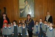 The Beech House children with Mrs Procter, the Mayor and Mrs Taylor in the Mayor