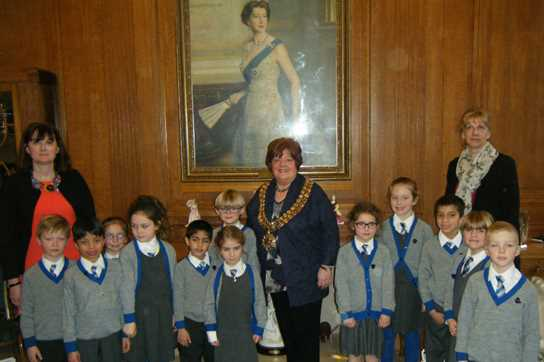 The Beech House children with Mrs Procter, the Mayor and Mrs Taylor in the Mayor's Parlour