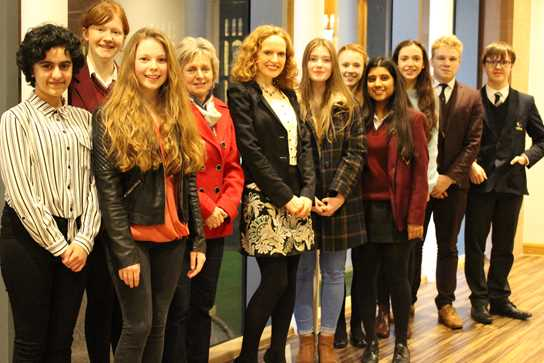 Professor Williams is welcomed to Bolton School by GCSE and A level historians