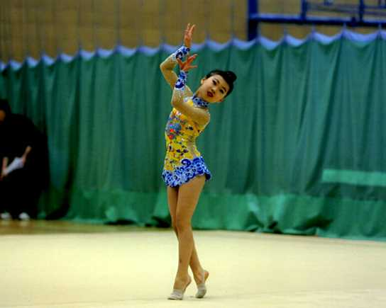 Dinburgh performing her free routine at the North-West competition
