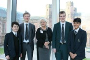 Councillor Thomas with some of the boys who enjoyed her talk