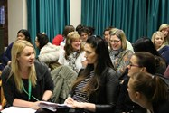 Some of the teachers who attended the event discussing the changes to the National Curriculum