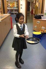 The children enjoyed the challenge of flipping pancakes