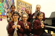 Some of the girls who won trophies for their performances
