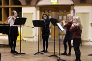 The Senior Flute Quartet opened the evening with Eleanor Rigby