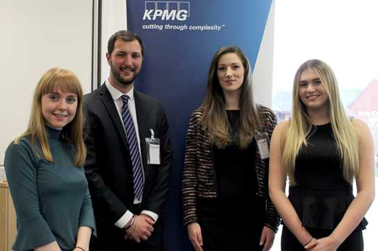 KPMG's Matt Fray and Hannah Maughan with last year's interns, Kate and Abigail