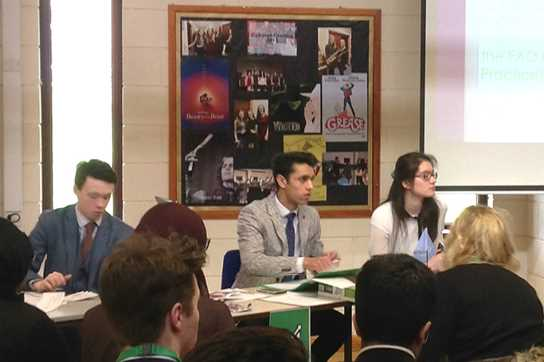 Rohit (centre) helping to Chair the Economic and Social Committee