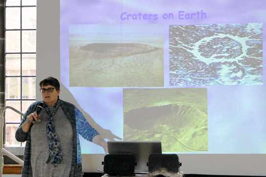 Professor Grady showed some examples of large impact craters visible on Earth