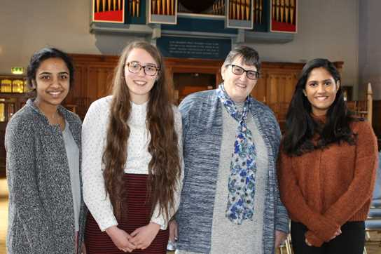 Professor Grady with some Sixth Formers who attended the talk