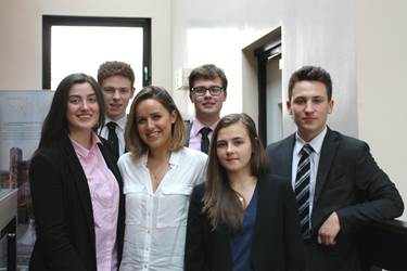 Entrepreneur Grace Gordon with some pupils who attended her talk