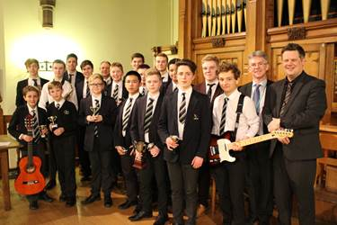 The 2016 Boys' Division Young Musician of the Year finalists with Music Staff and Adjudicator, Mr Stuart Hazelton
