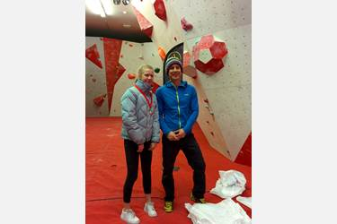 Zoe with her medal given to her by pro climber Neil Gresham