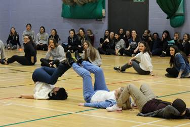 The Year 11 girls take part in team-building games at BLGC