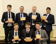 Mark with some of the Sixth Form pupils and the Giant Crumpets